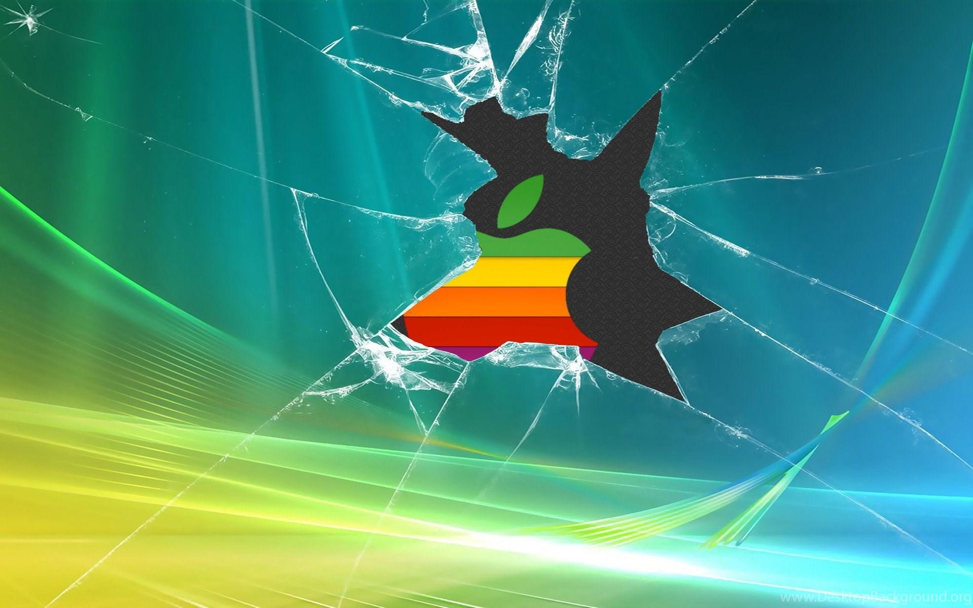Retro Apple Logo Broken Windows Backgrounds Desktop