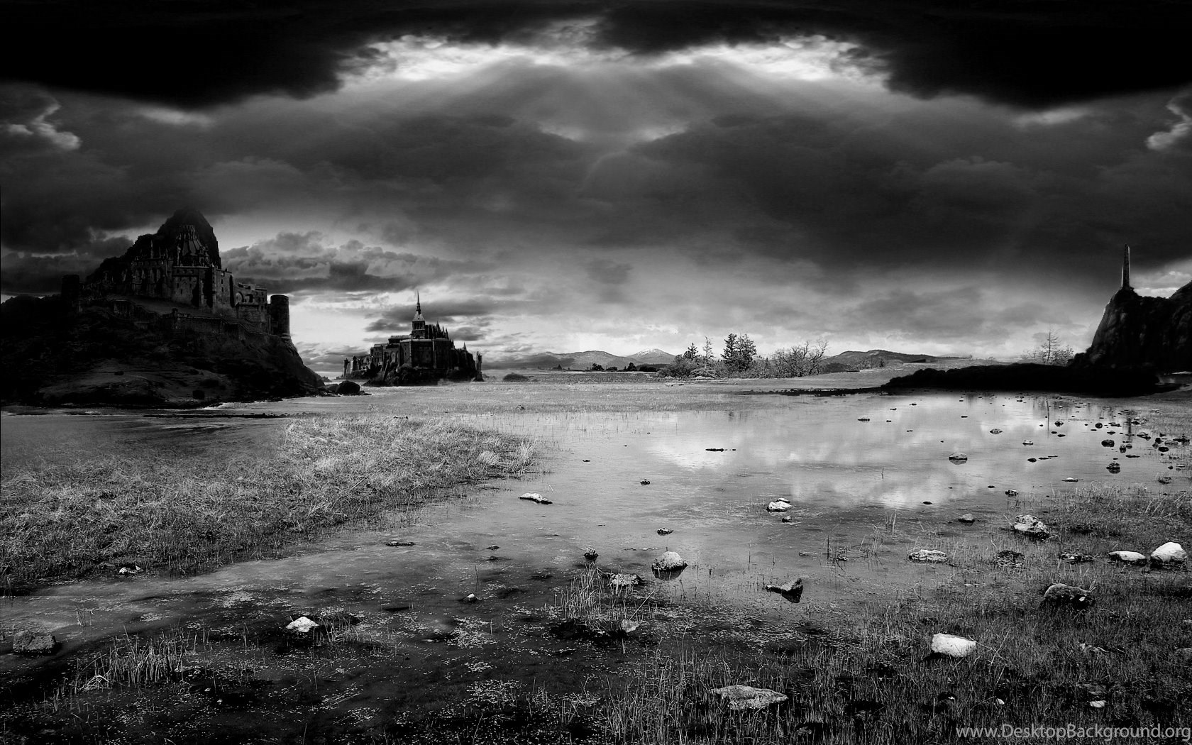 Black And White Landscape With Castles Desktop Background