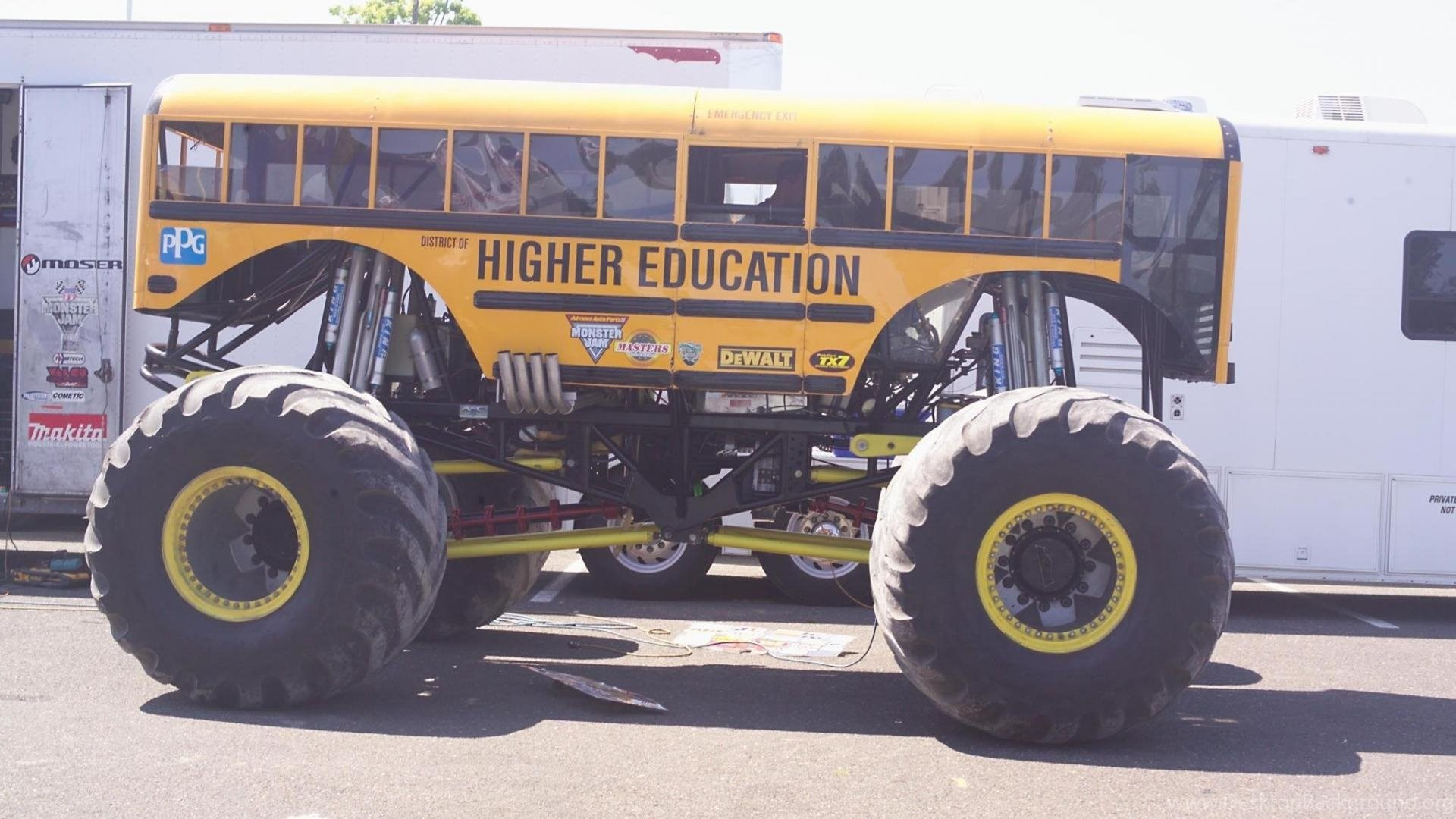 Funny School Bus Monster Truck Wallpapers Desktop Background