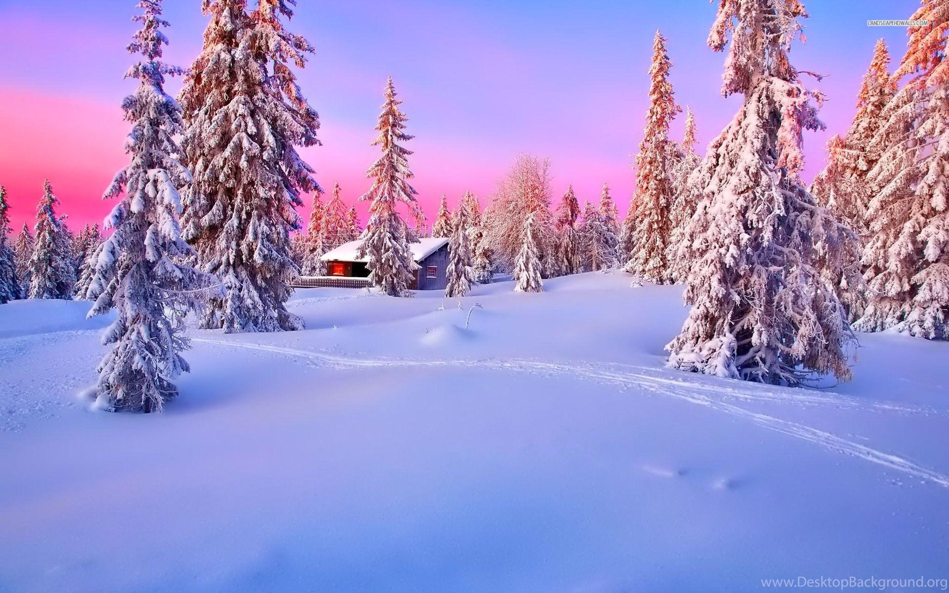 Cabin In The Snowy Woods Wallpaper Wwwbilderbestecom