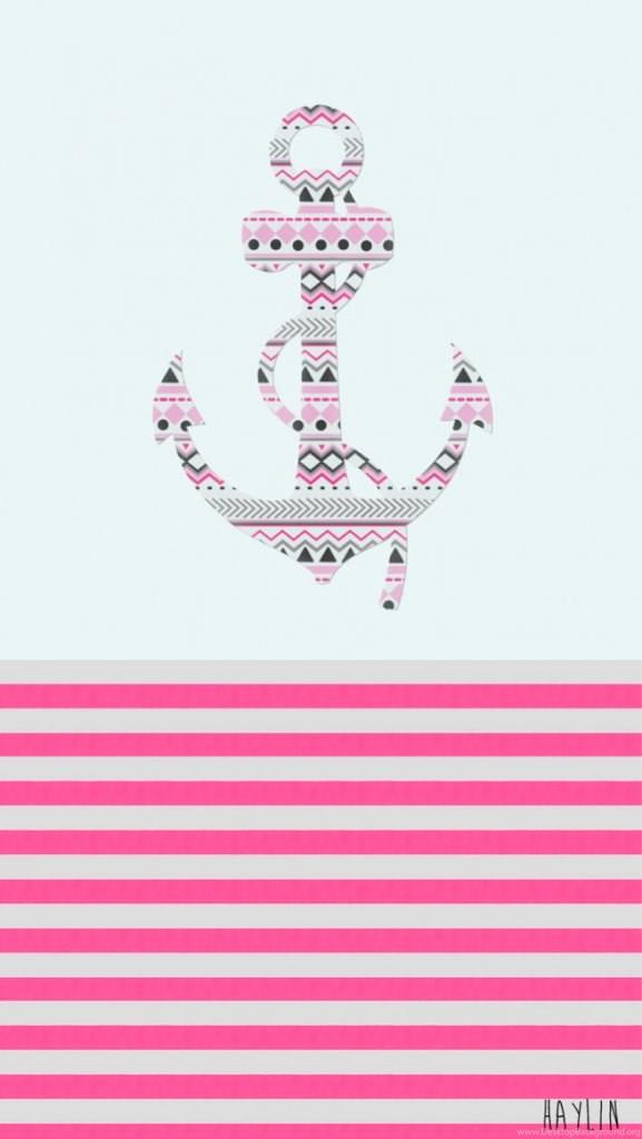 Anchor Art Blue Cute Design Pattern Pink Stripes Wallpapers