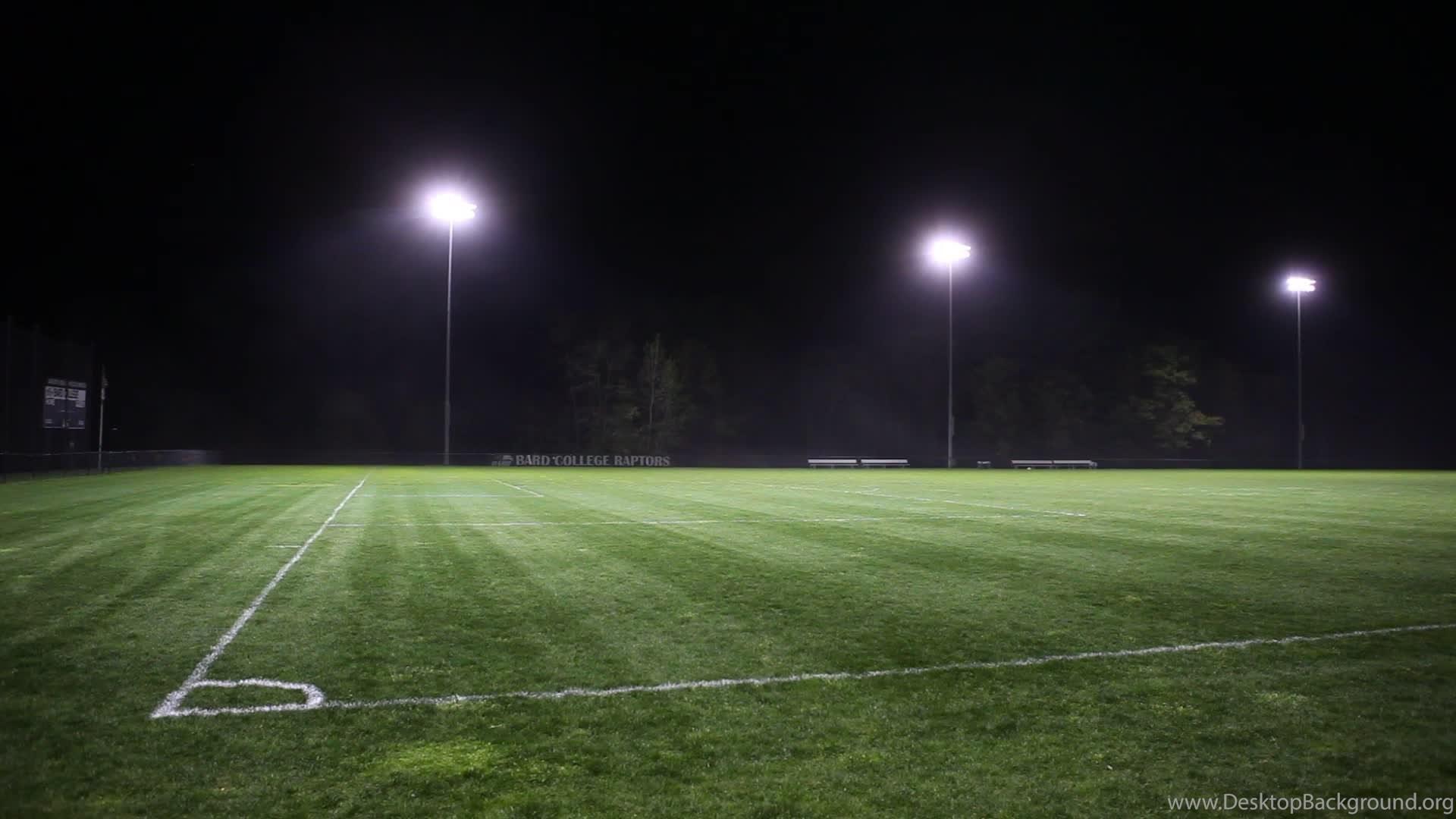 High school football field at night