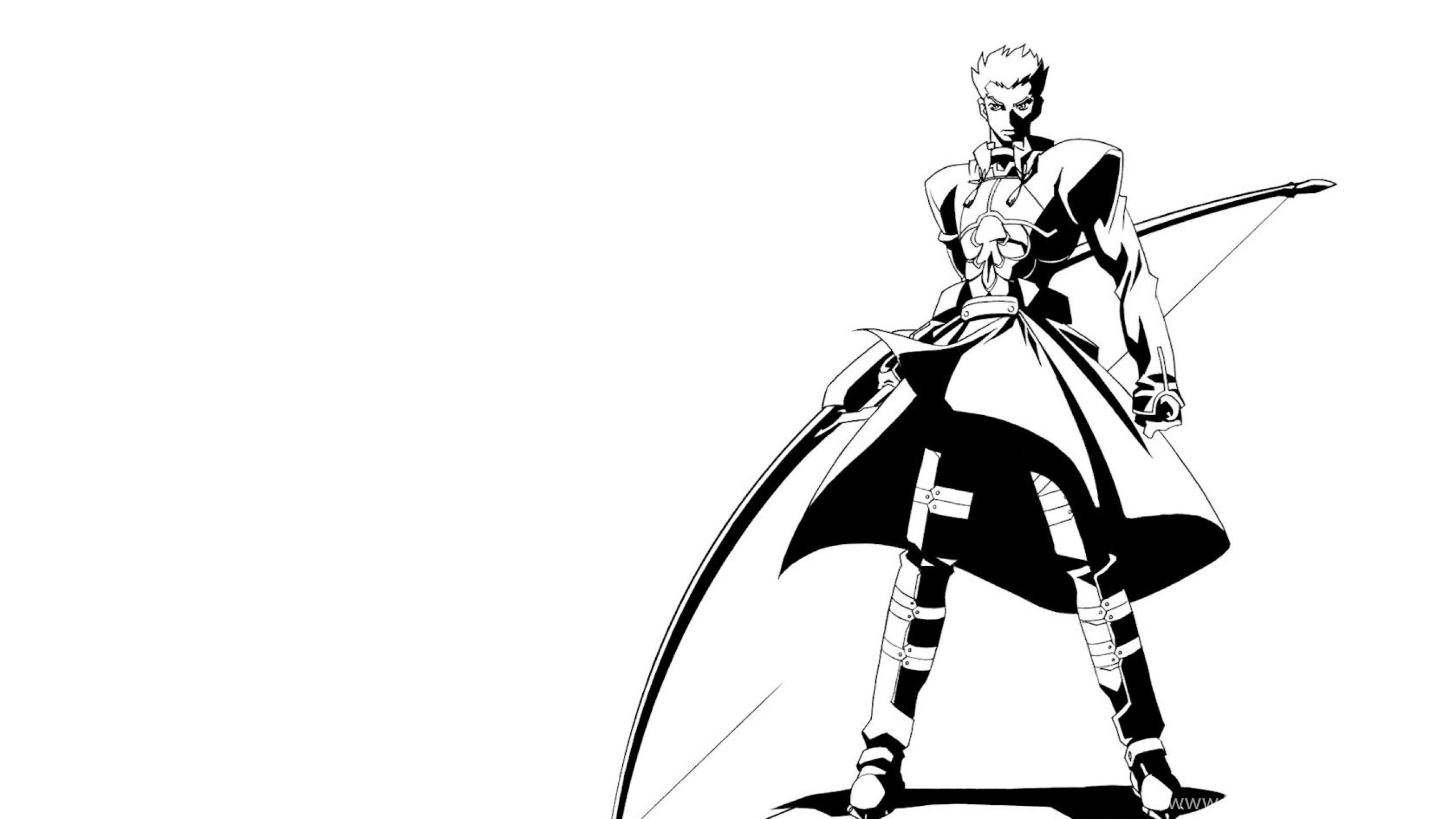 download wallpapers 2560x1440 anime, boy, black and white, arms