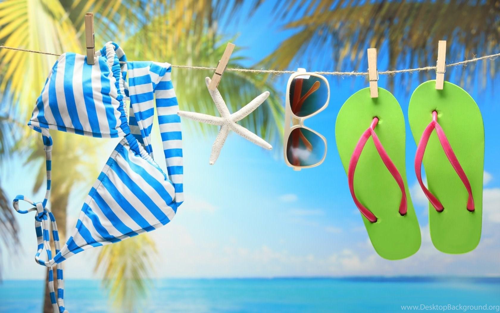 3208010633973 Swimwear sunglasses and green flip flops on the beach wallpapers flip flops  desktop backgrounds jpg 1680x1050