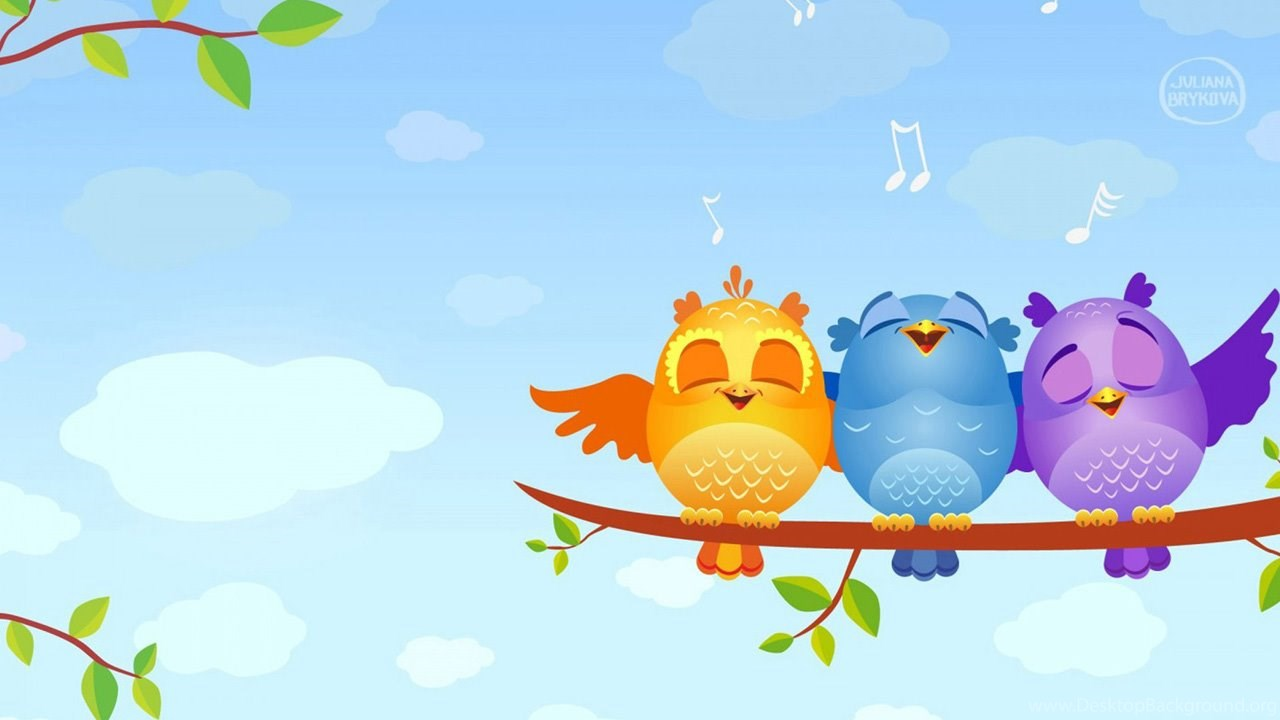 cute cartoon bird singing wallpaper  hd desktop wallpapers
