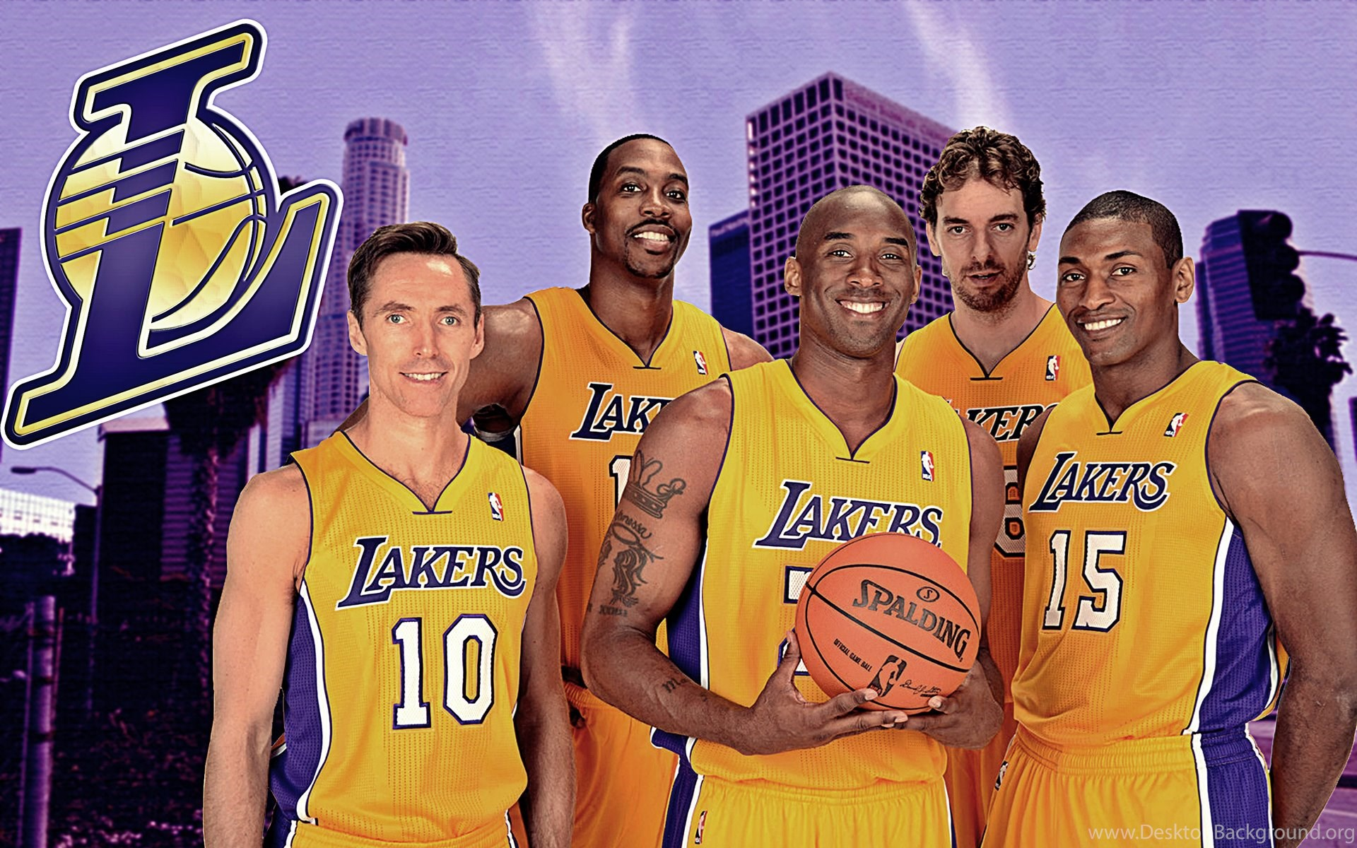 Lakers Best Starting Five Wallpaper Lakers Wallpaper Desktop Background