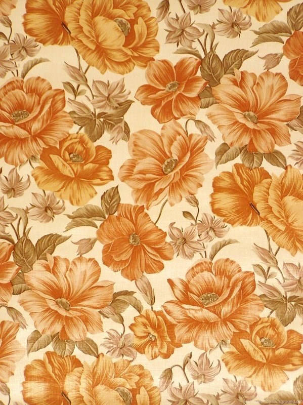 703289 orange floral wallpapers from the 60s vintage