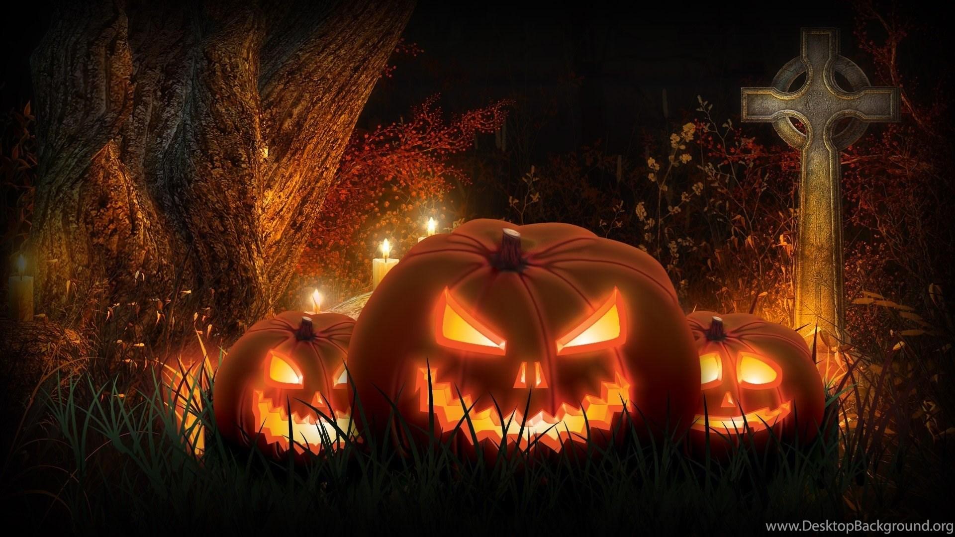 Jack O Lanterns In The Cemetery Halloween Pumpkin Night Desktop Background