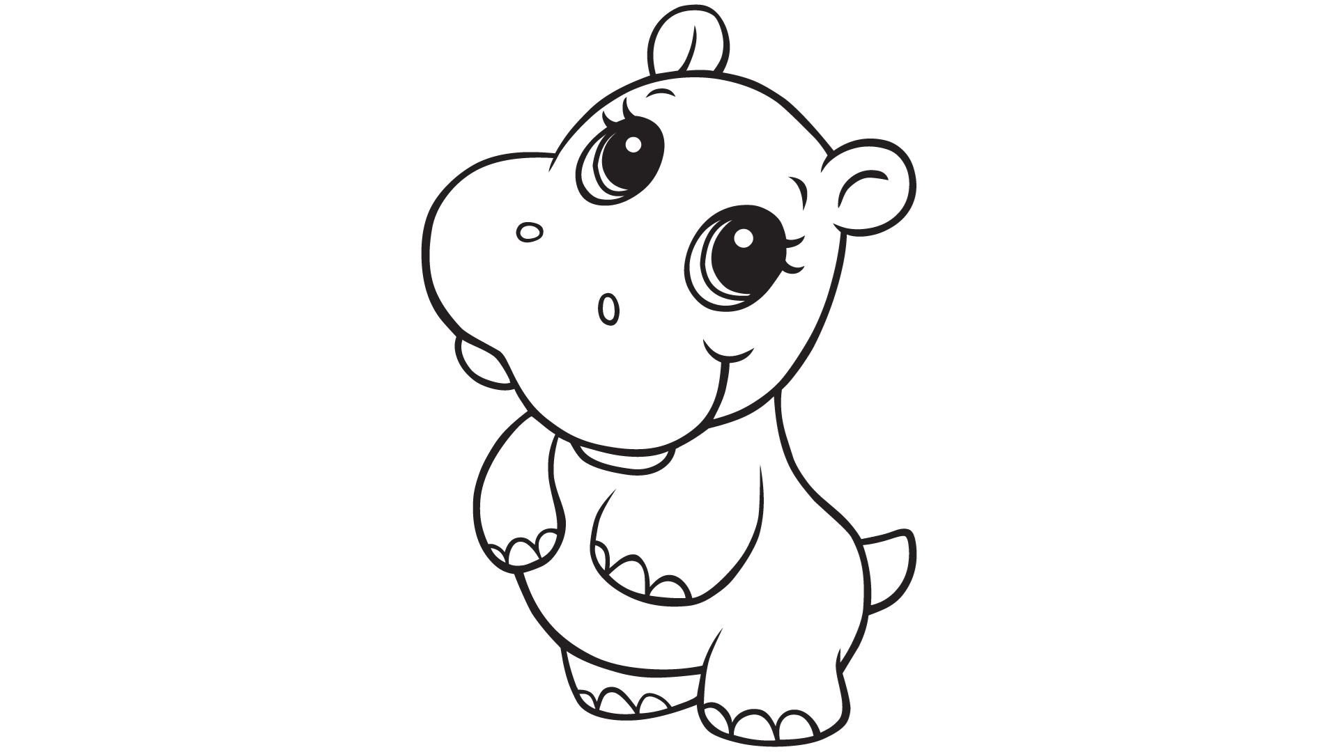 Hippo Coloring Pages Desktop Background