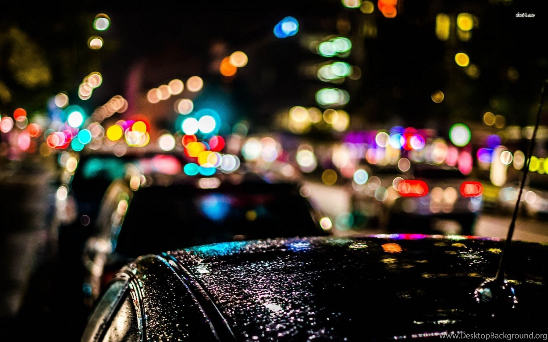 blurred city lights over the cars 1920x1200 photography wallpapers