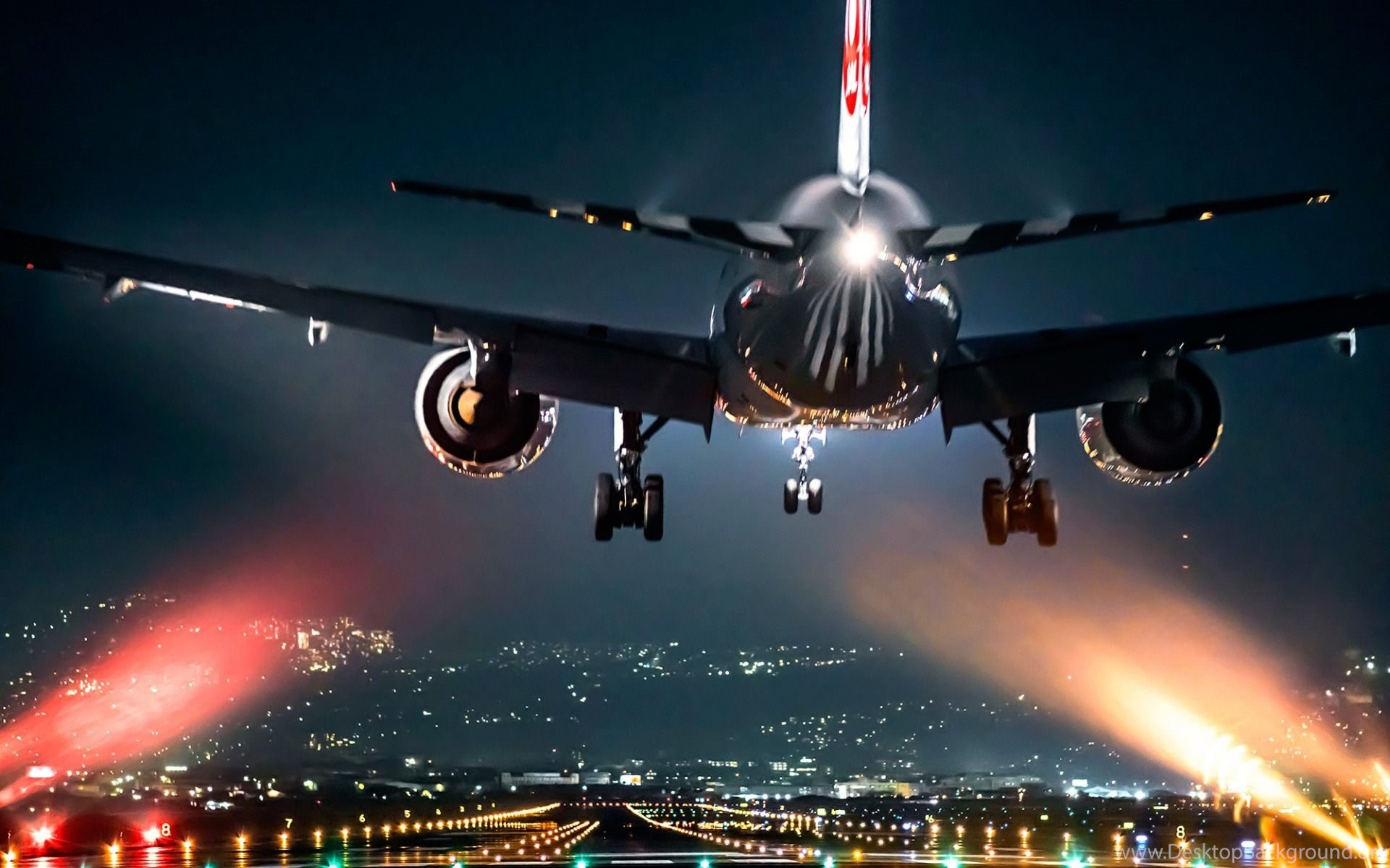 airplane take off at night wallpapers hd free download desktop