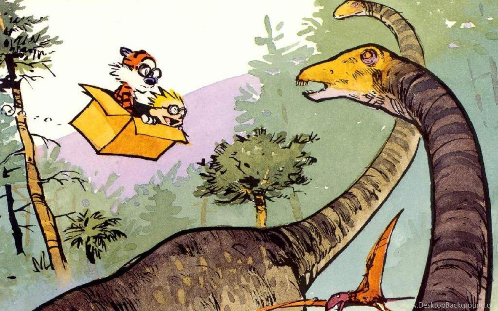 Calvin And Hobbes Dinosaurs Drawing Hd Wallpaper Cartoon Comic