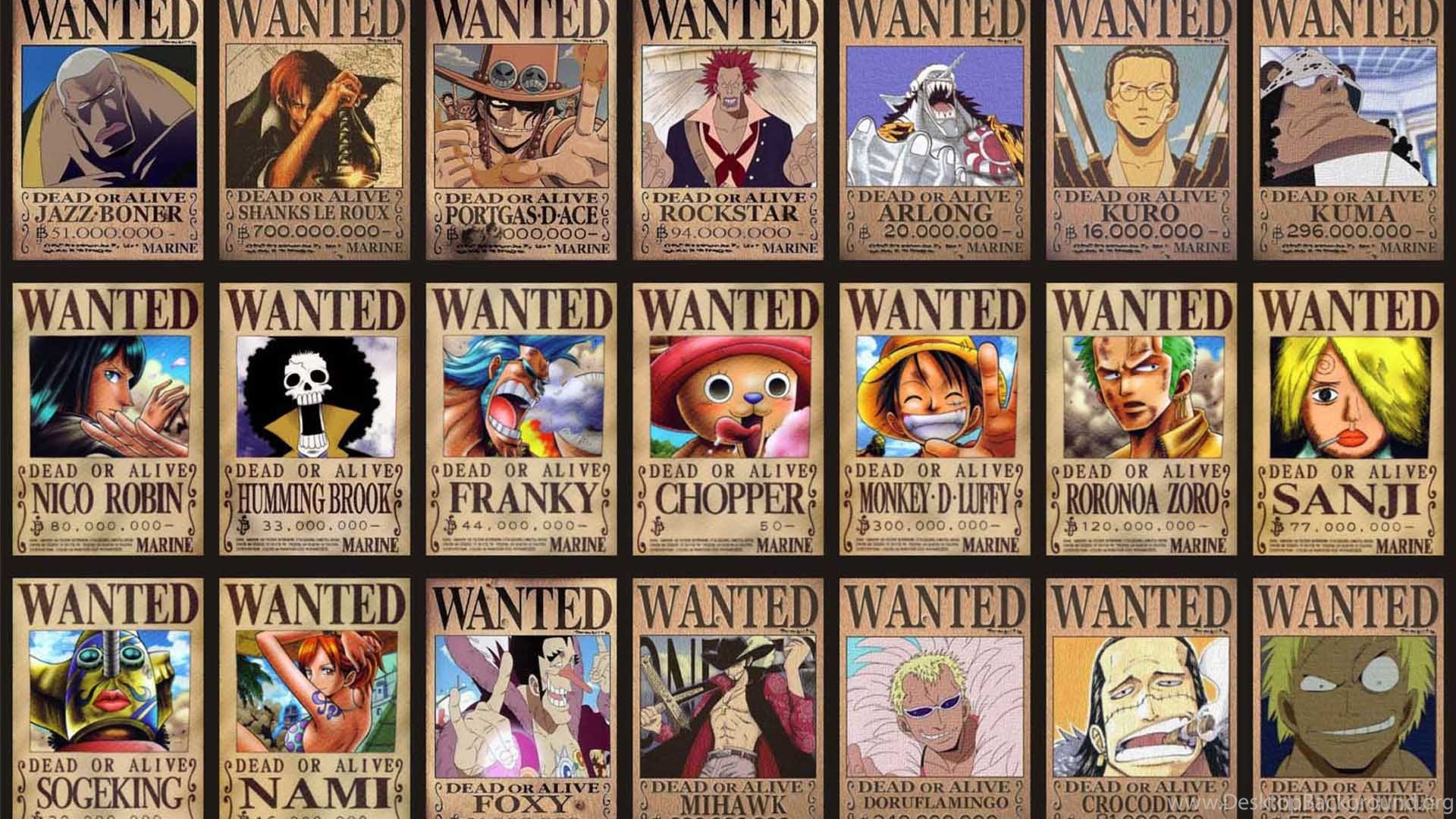 One Piece Anime Movie Wanted Desktop Background