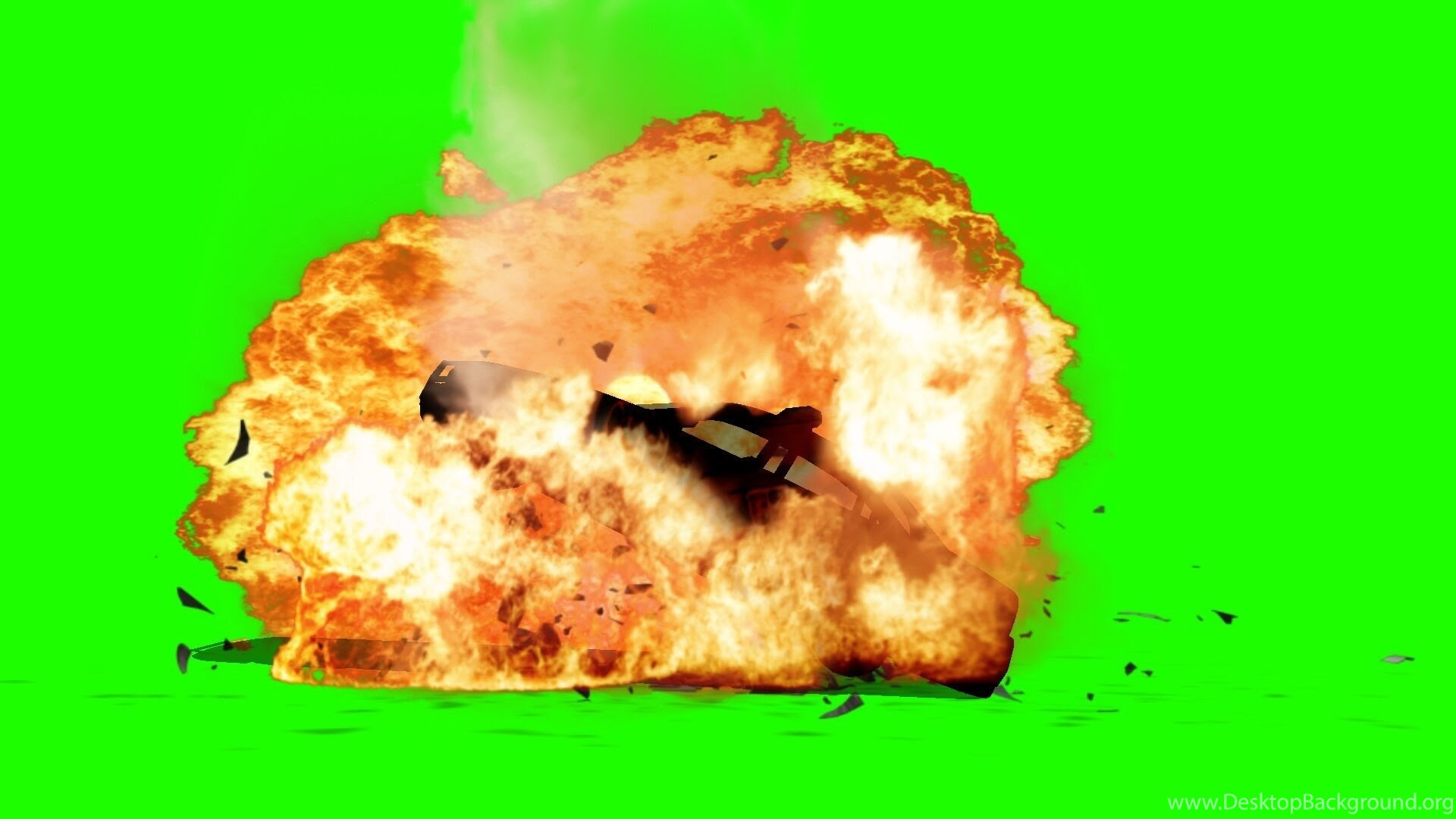 Police Car Explodes Big Fire Explosion Green Screen Effects