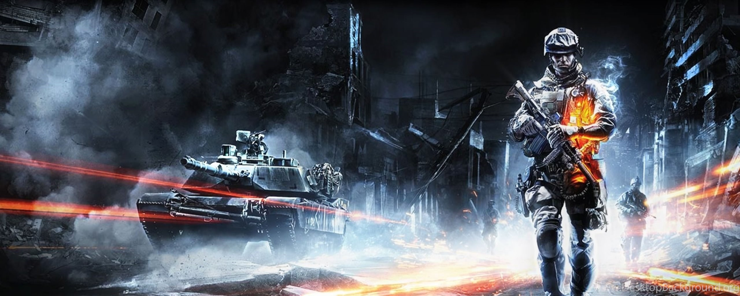 Download Wallpapers 2560x1024 Battlefield 3 Tank City Road Dual Desktop Background