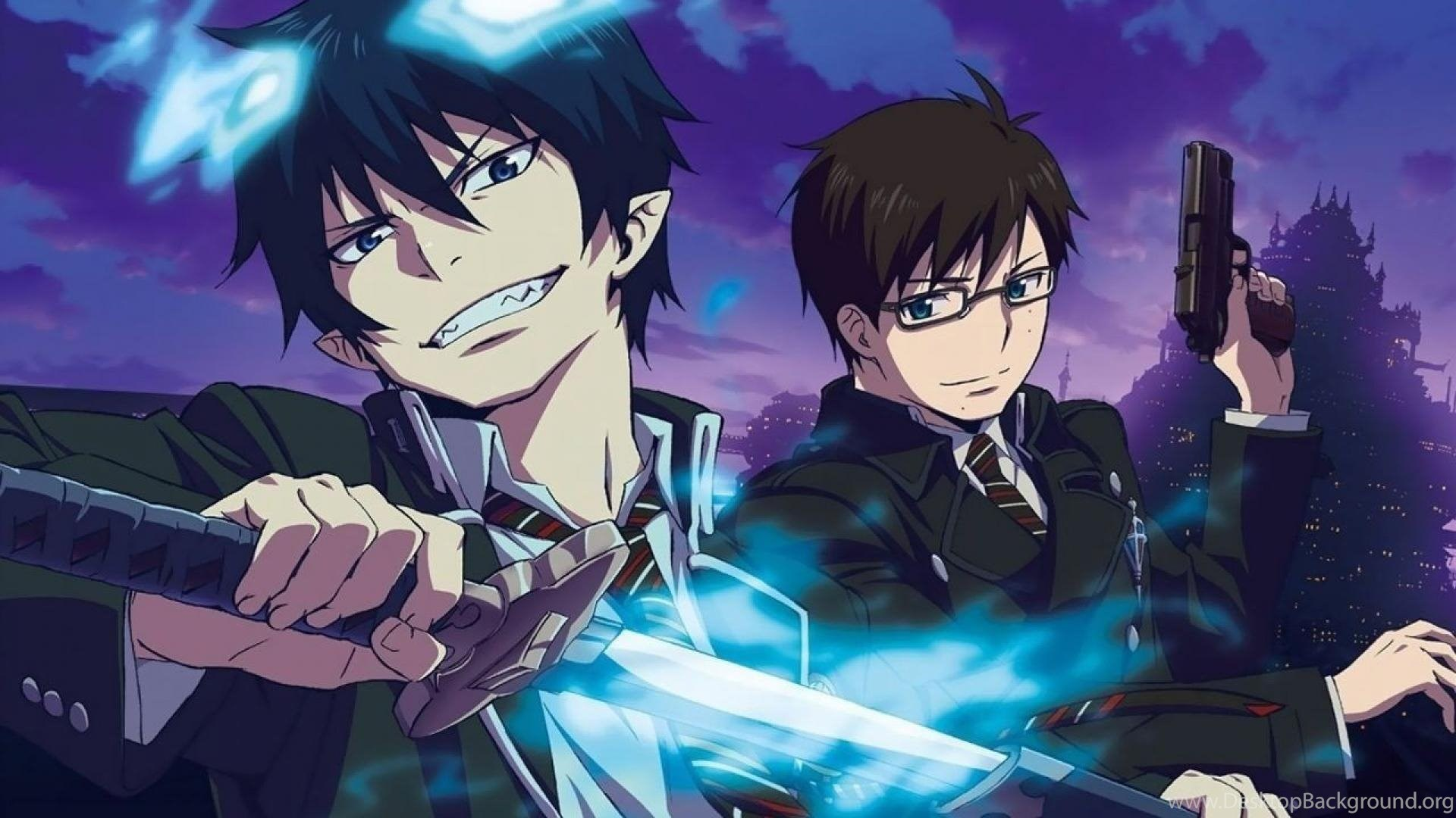 Ao No Exorcist Okumura Rin Yukio Swords Wallpapers Desktop Background