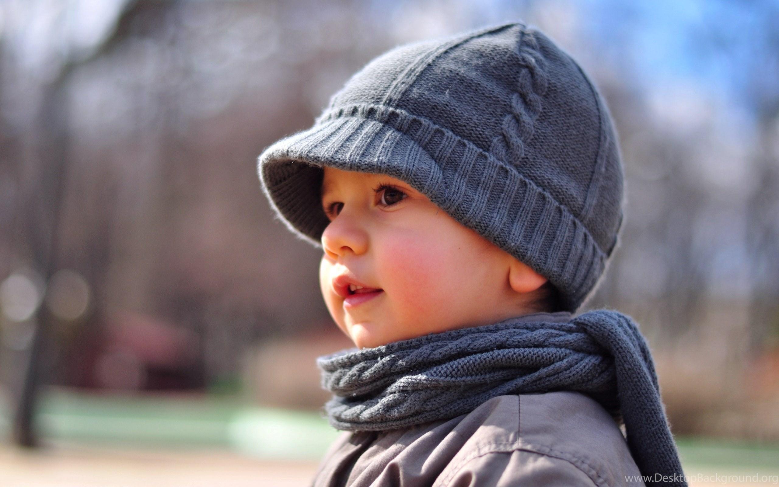Cute Boy Kid Portrait Hat Scarf Bokeh Hd Wallpapers Desktop