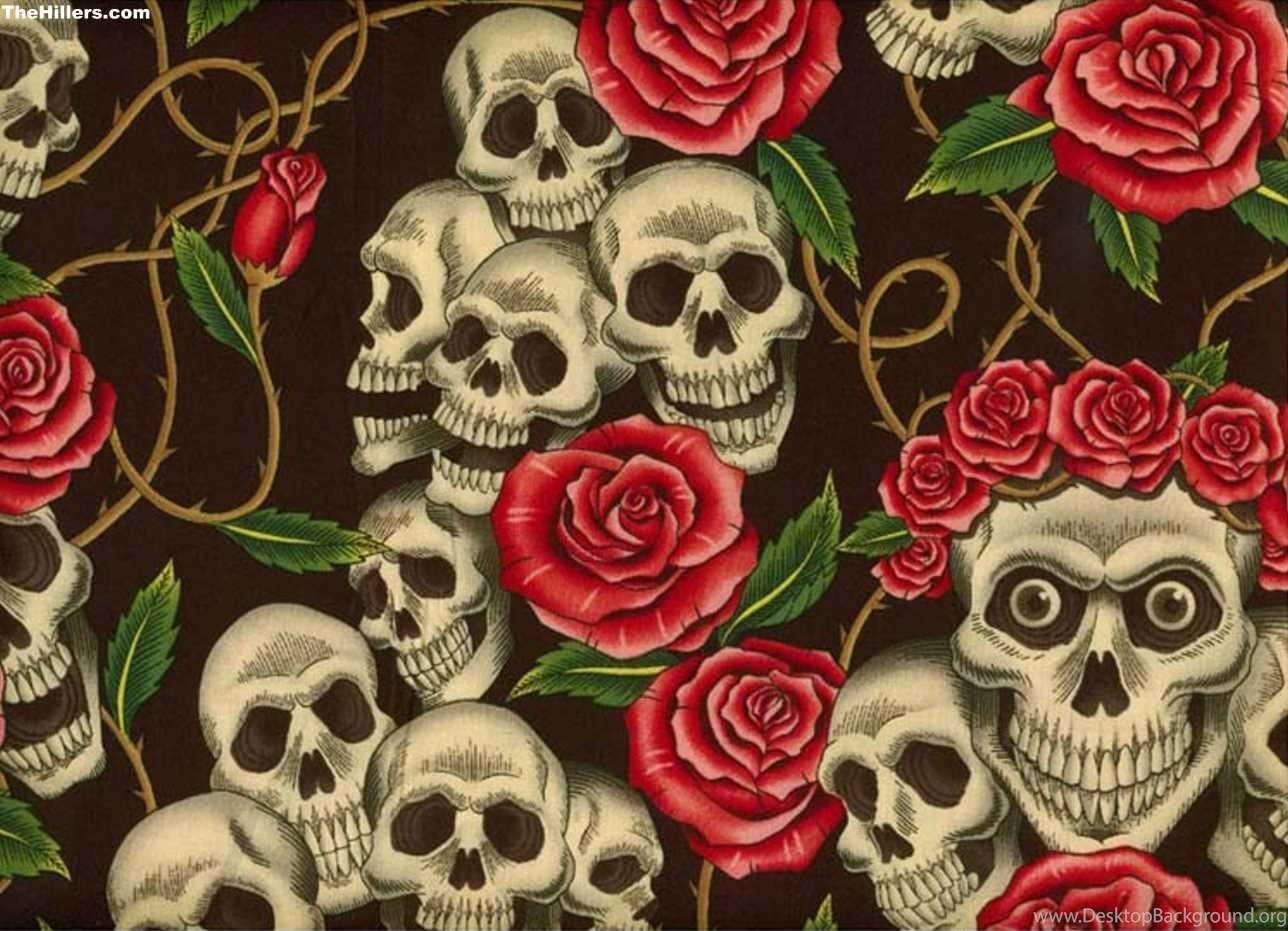 красивые картинки с черепом и цветы