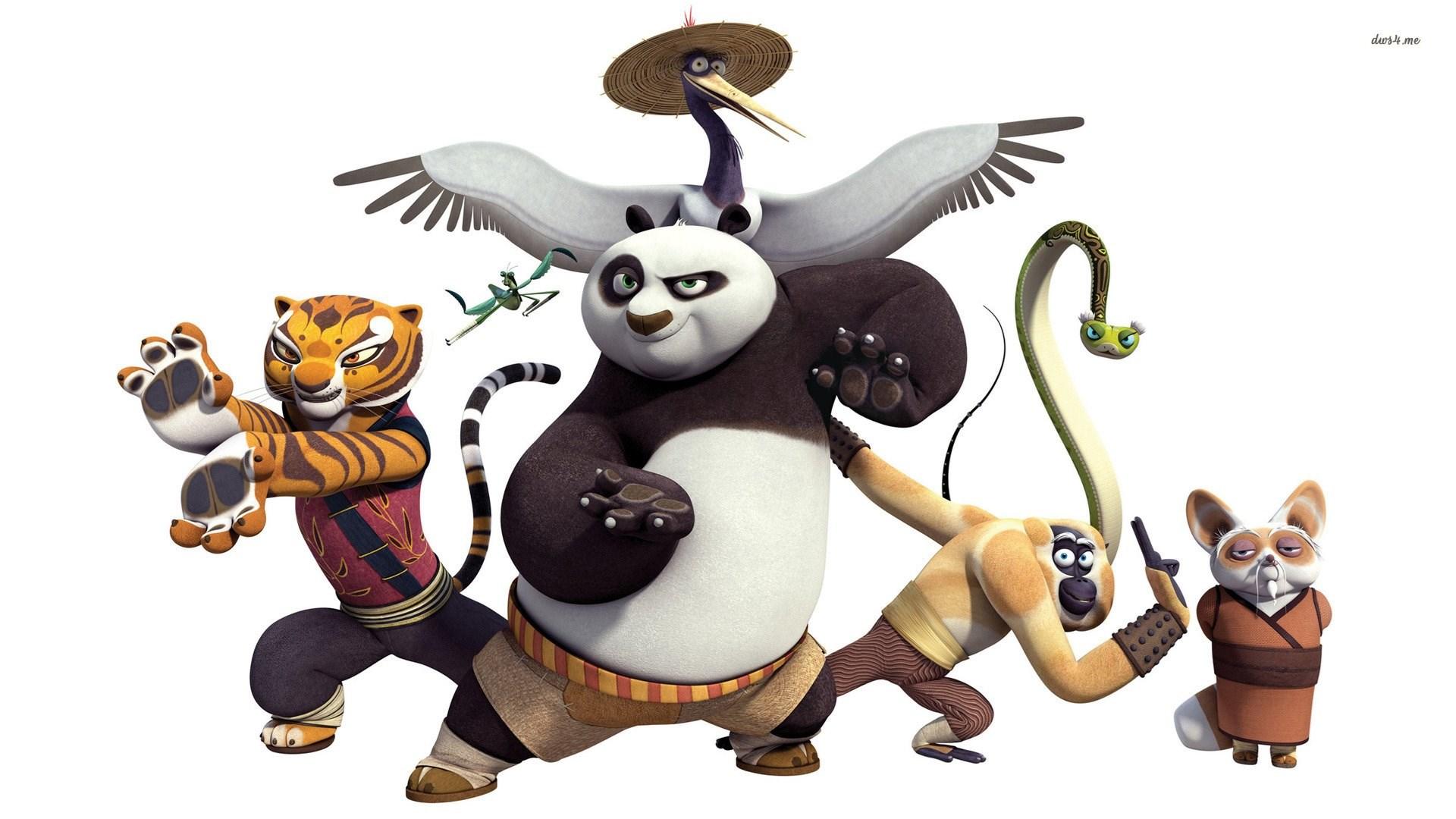kung fu panda, po, monkey, tigress, master shifu, viper, crane
