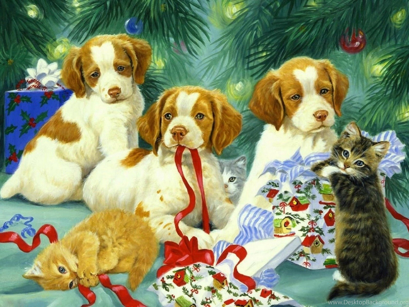 dogs puppies kittens xmas new year paintings christmas cats dogs