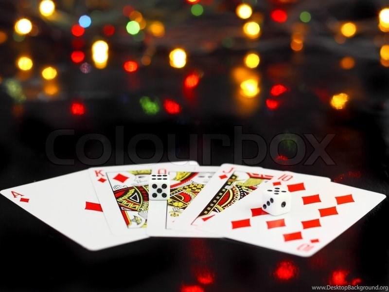 Dice And Playing Cards Poker Royal Flesh. On Back Backgrounds ... Desktop  Background