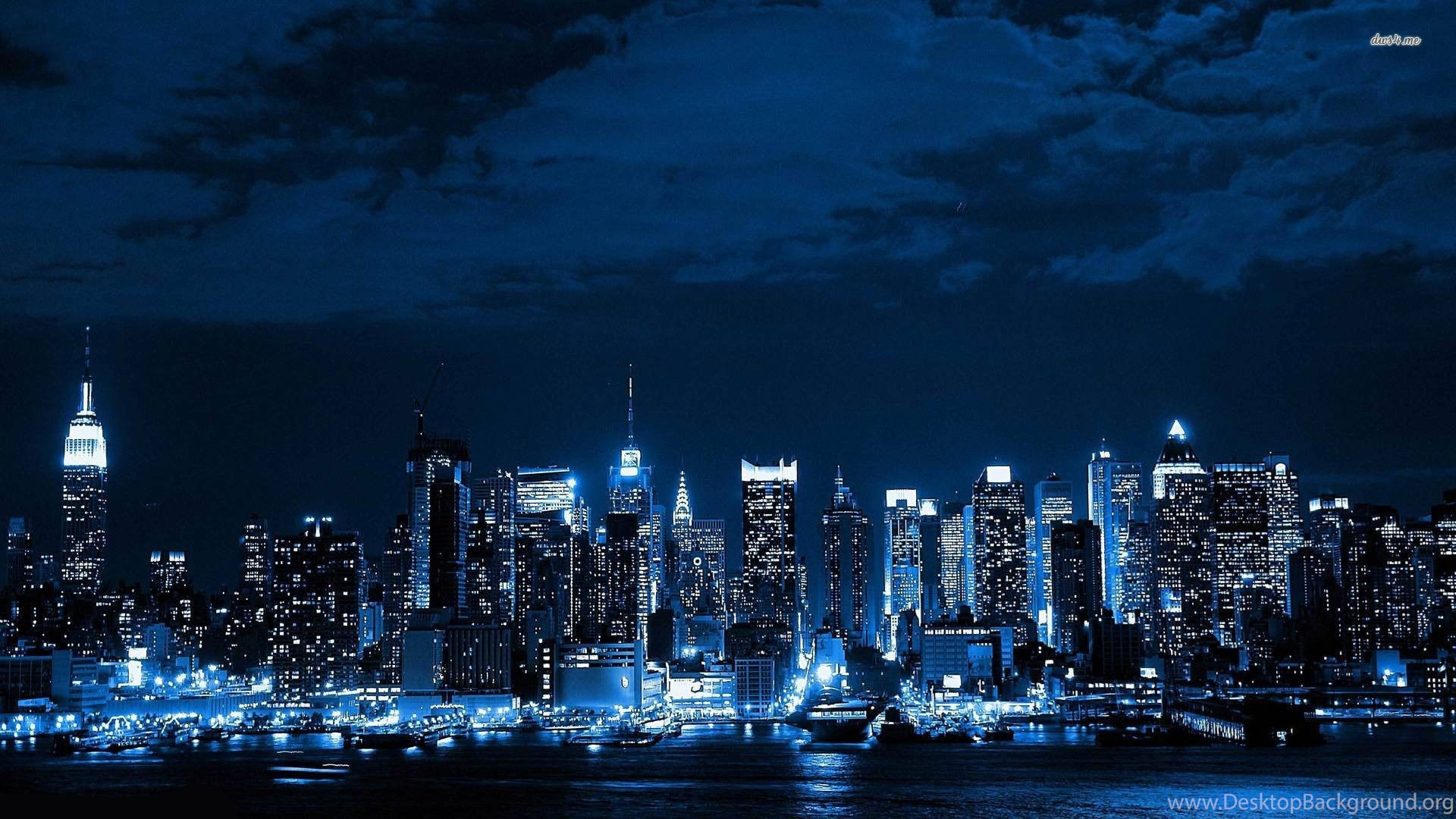 New york city skylines at night full hd wallpapers desktop - New york skyline computer wallpaper ...