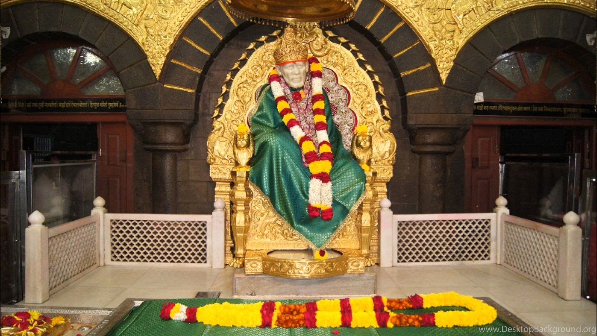 Hd Backgrounds Sai Baba Hindu God Gold Crown Temple Wallpapers