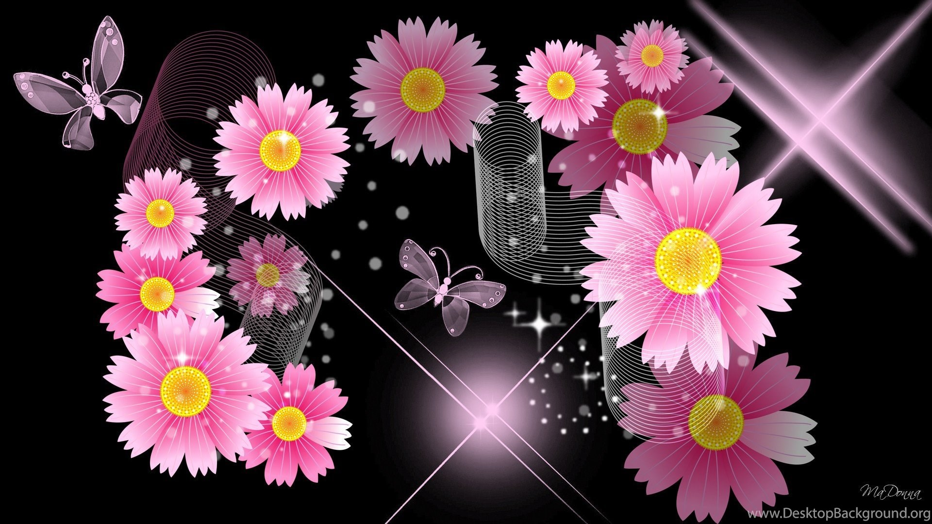 Black And Pink Flower Wallpapers Walldevil Best Free Hd Desktop