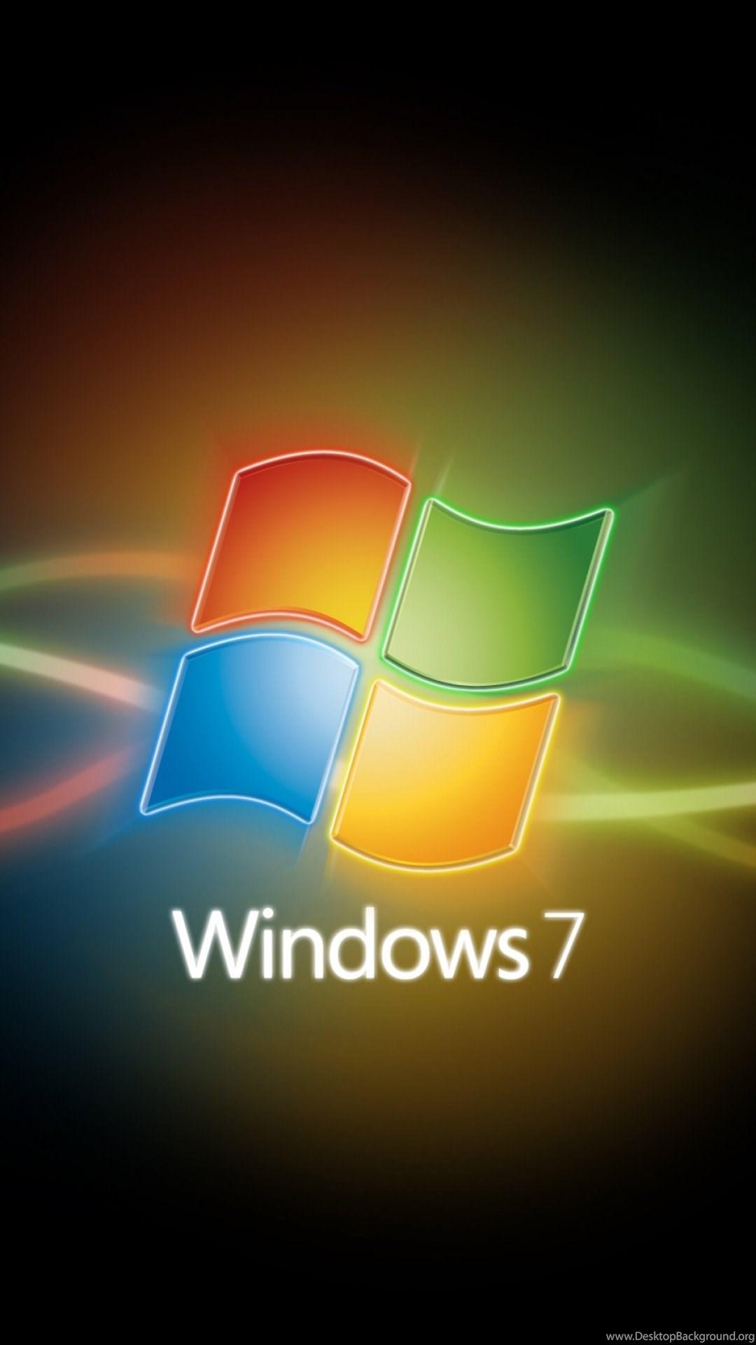 Wallpaper: Logo, Yellow, Green, Windows 7, Red, Line, Blue
