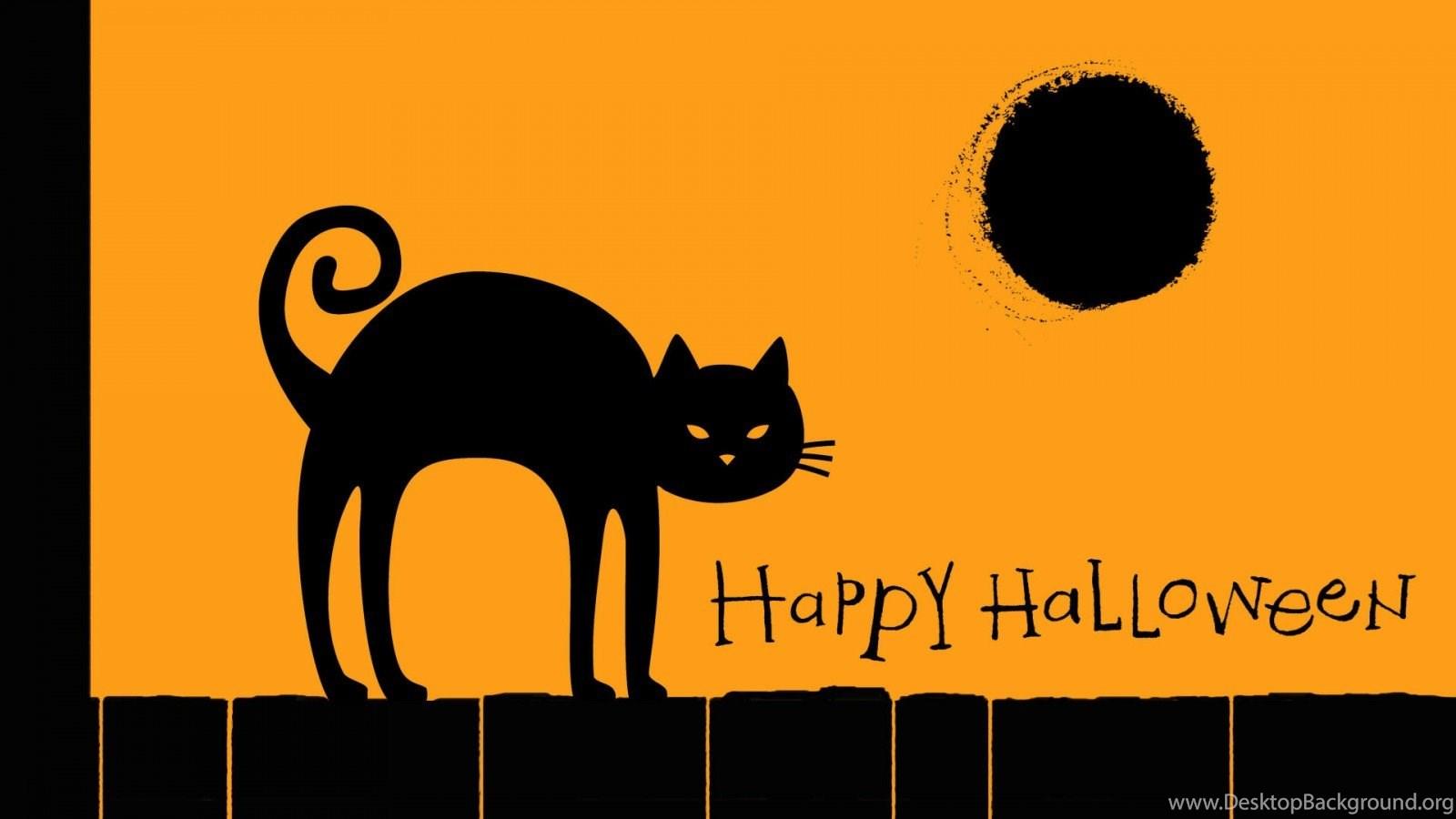 Black Cat Happy Halloween 1600x900 Wallpapers Imgprix Desktop Background