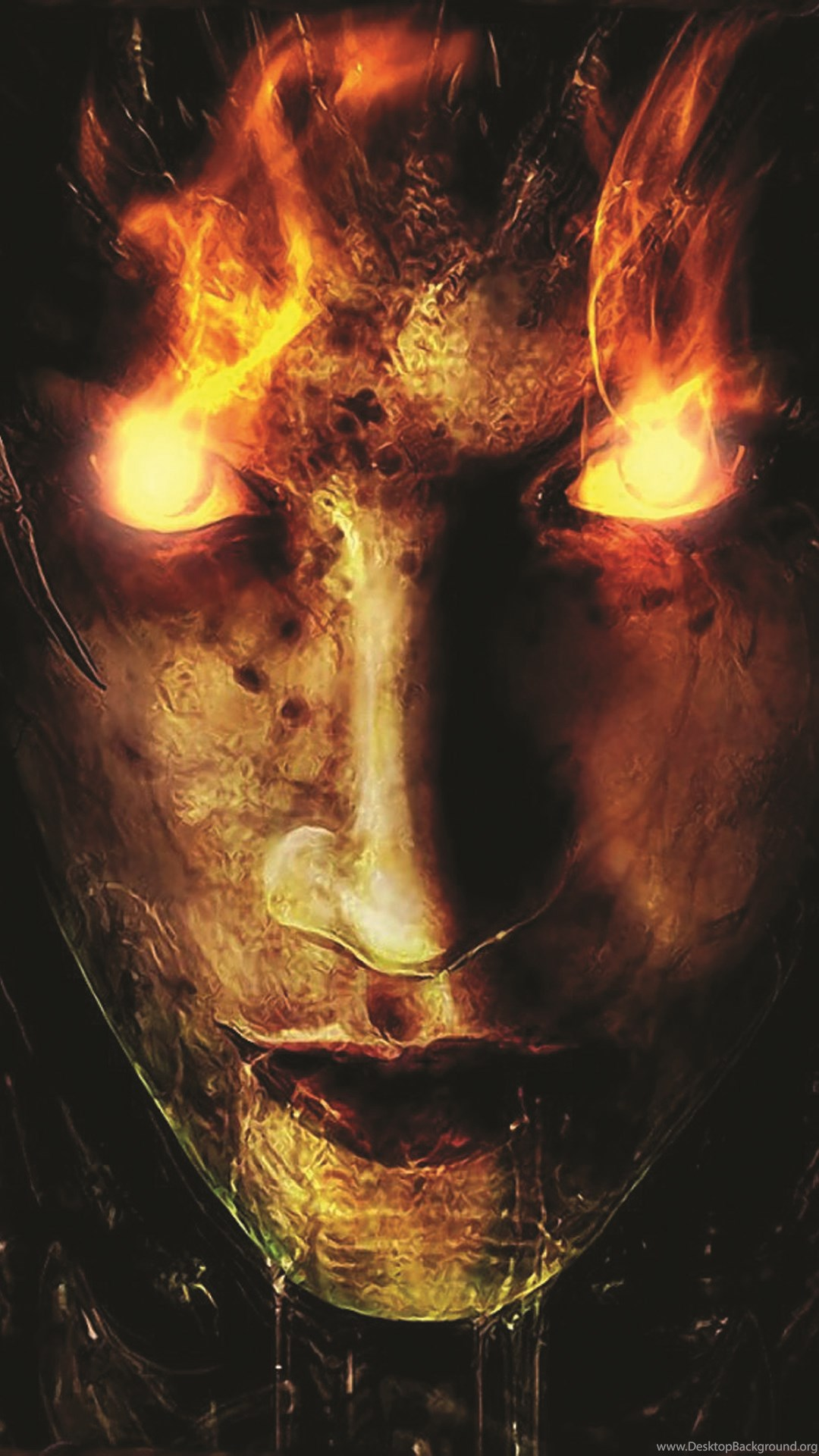 fire demon glowing eyes halloween android wallpapers free download