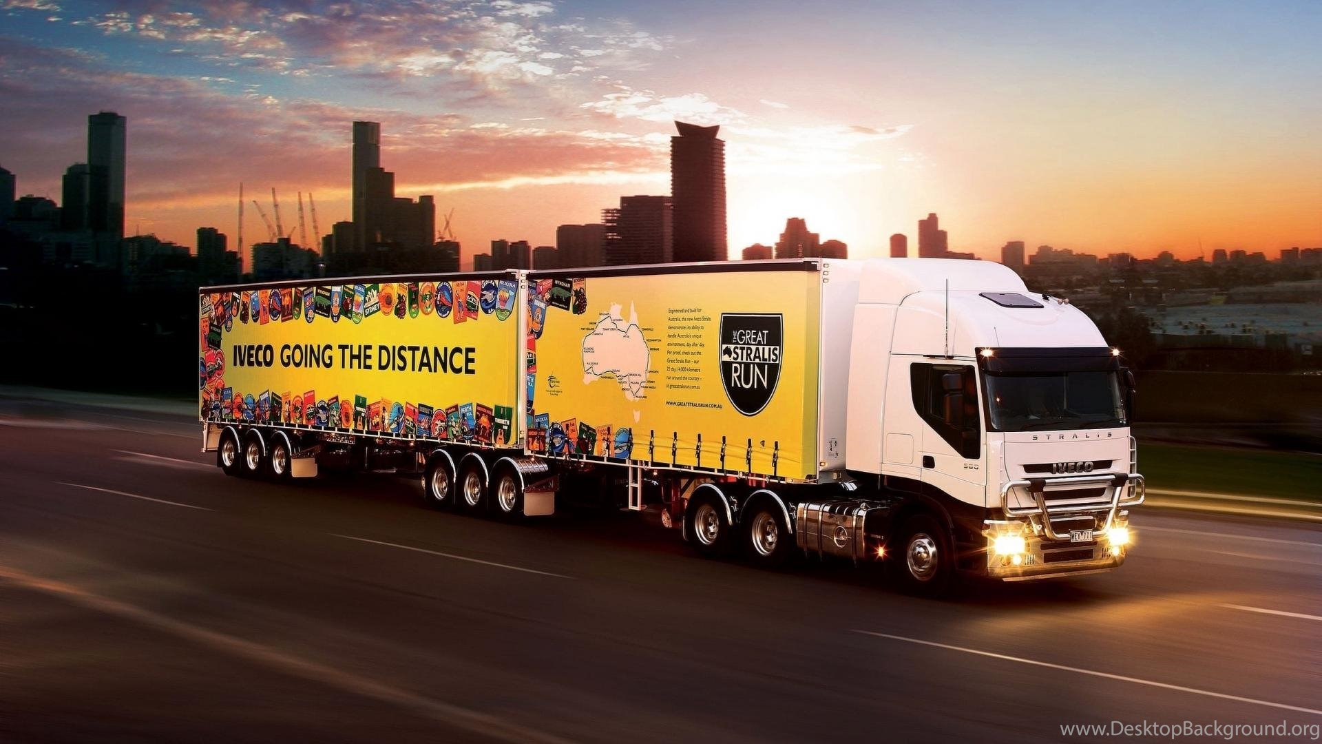 Iveco Road Train Sunset Trucks Wallpapers Desktop Background