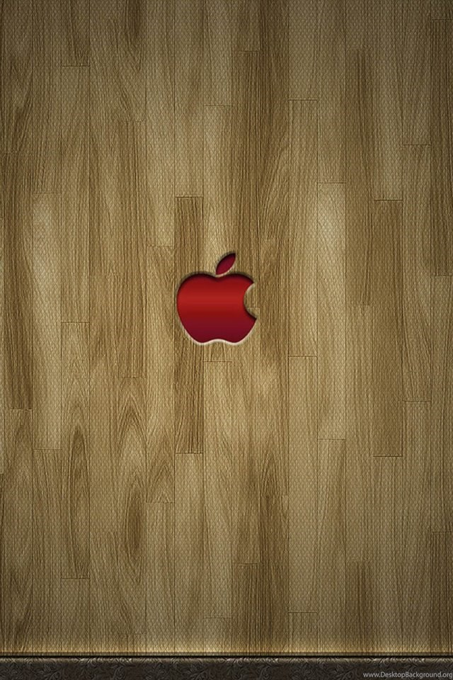 Red Apple Logo And Wooden Flooring Backgrounds Iphone Wallpapers Desktop Background