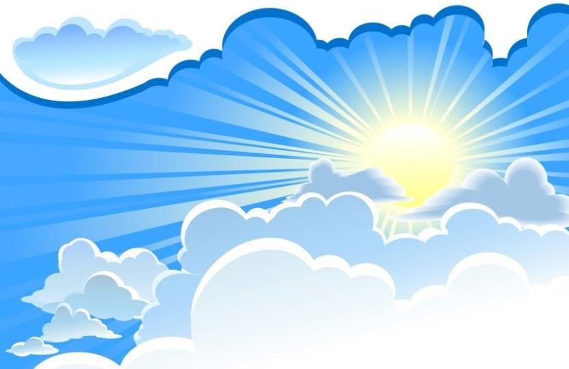 Картинка небо с облаками и солнцем для детей
