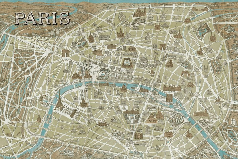 Paris Map Wallpaper.Monuments Of Paris Map Blue Wall Mural Photo Wallpapers Photowall