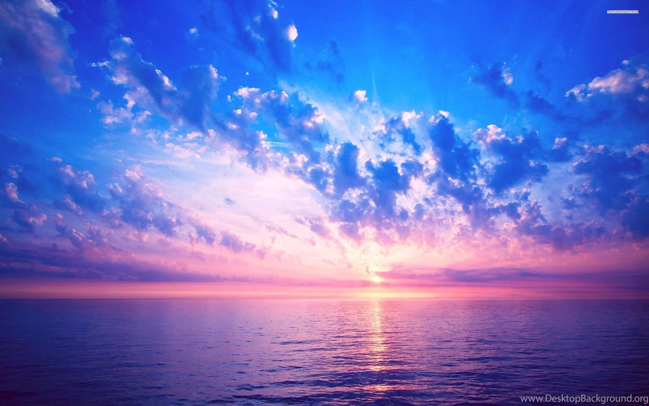 beautiful pink sky above the ocean, cloud, beaches, 2560x1600 hd
