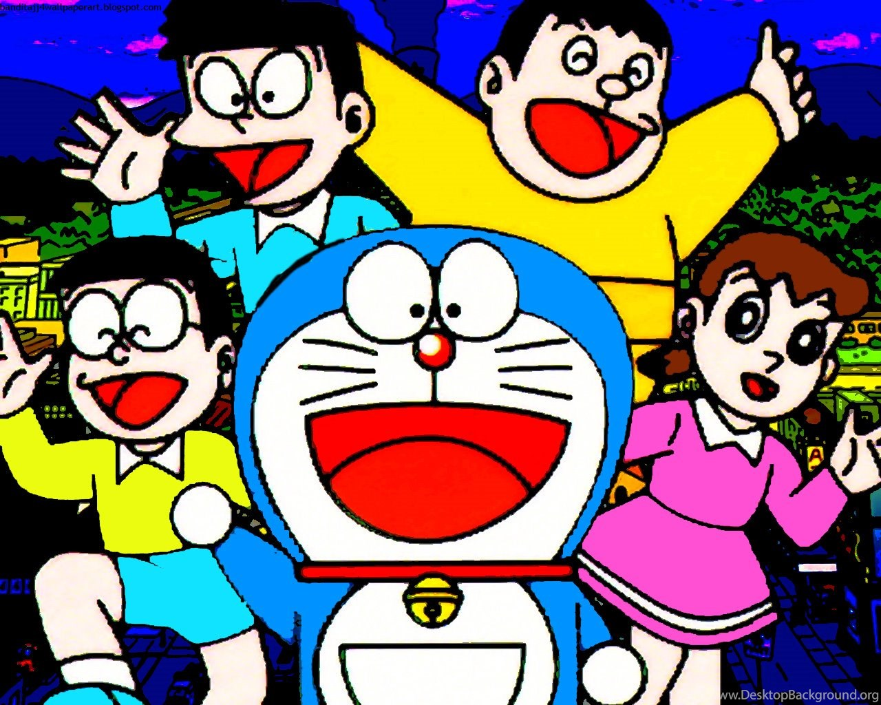 Doraemon Giant Nobita Shizuka Suneo Desktop Background