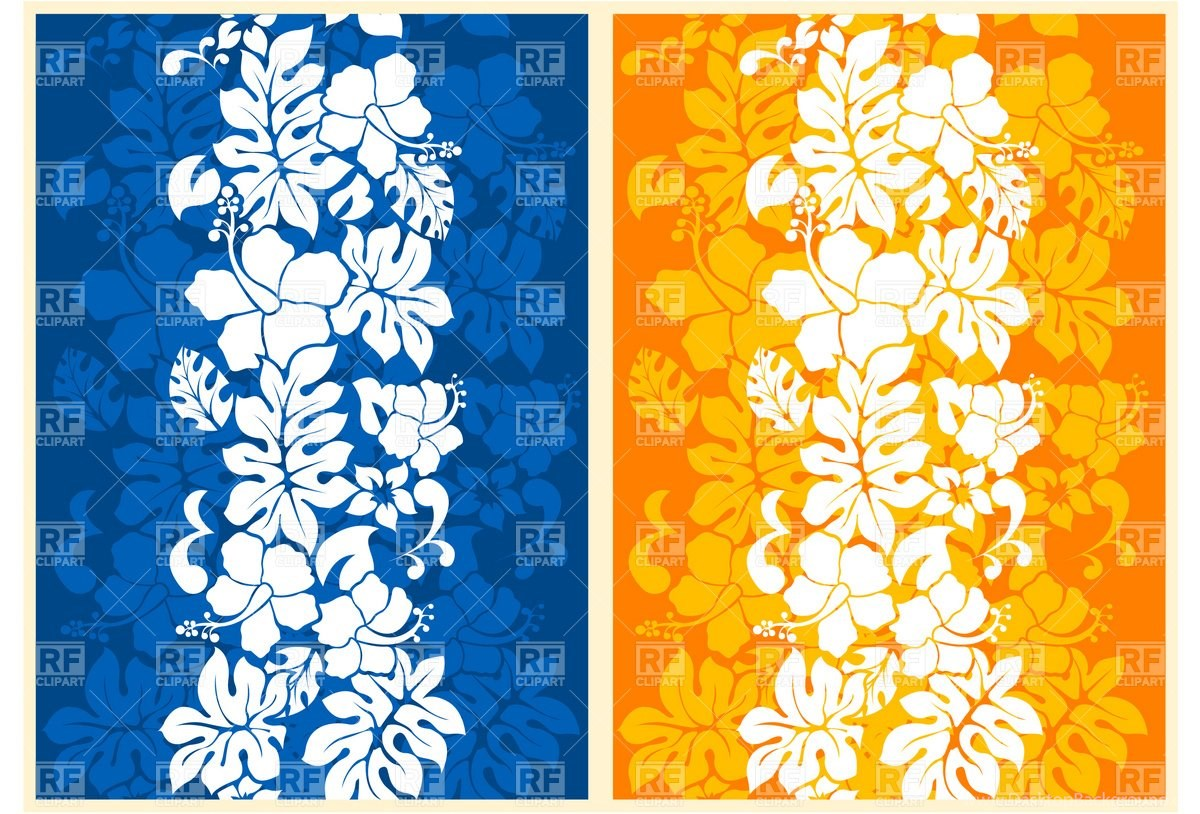Hawaiian Floral Seamless Backgrounds With Hibiscus 4857
