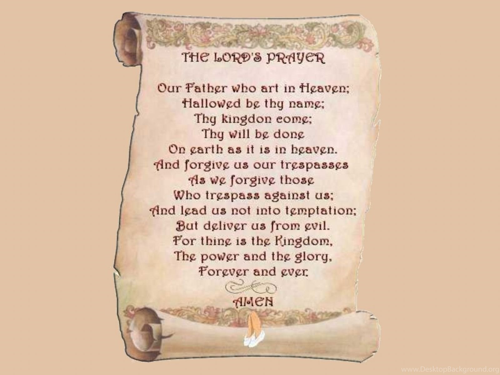 the lords prayer on scroll desktop background
