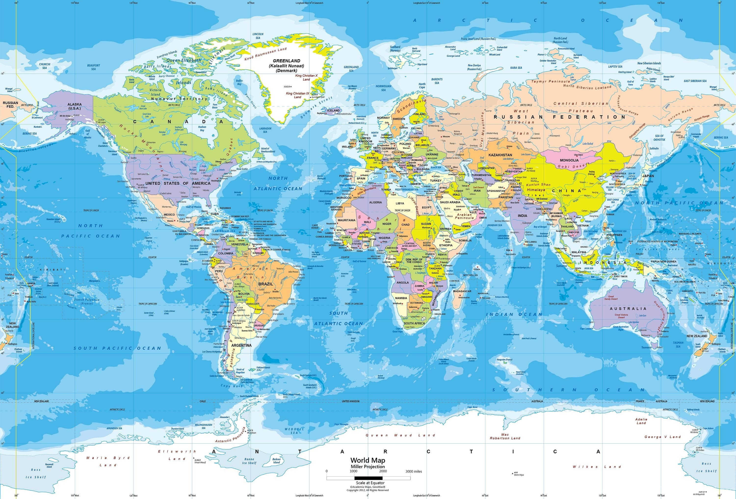 World political map wall mural miller projection desktop background 3000x2032 gumiabroncs Choice Image