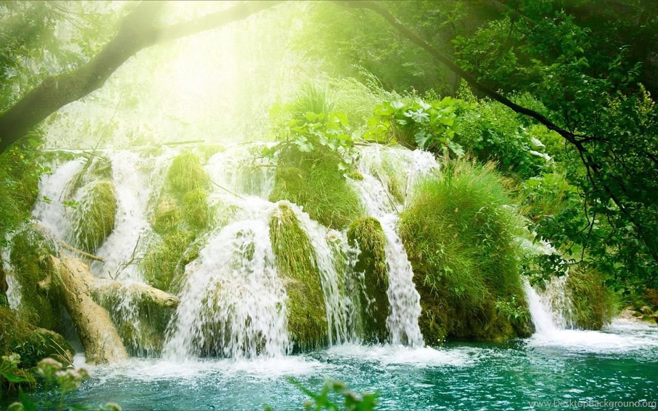 Waterfall And Lake Landscape Wallpapers Free Green Tree Waterfall Desktop Background