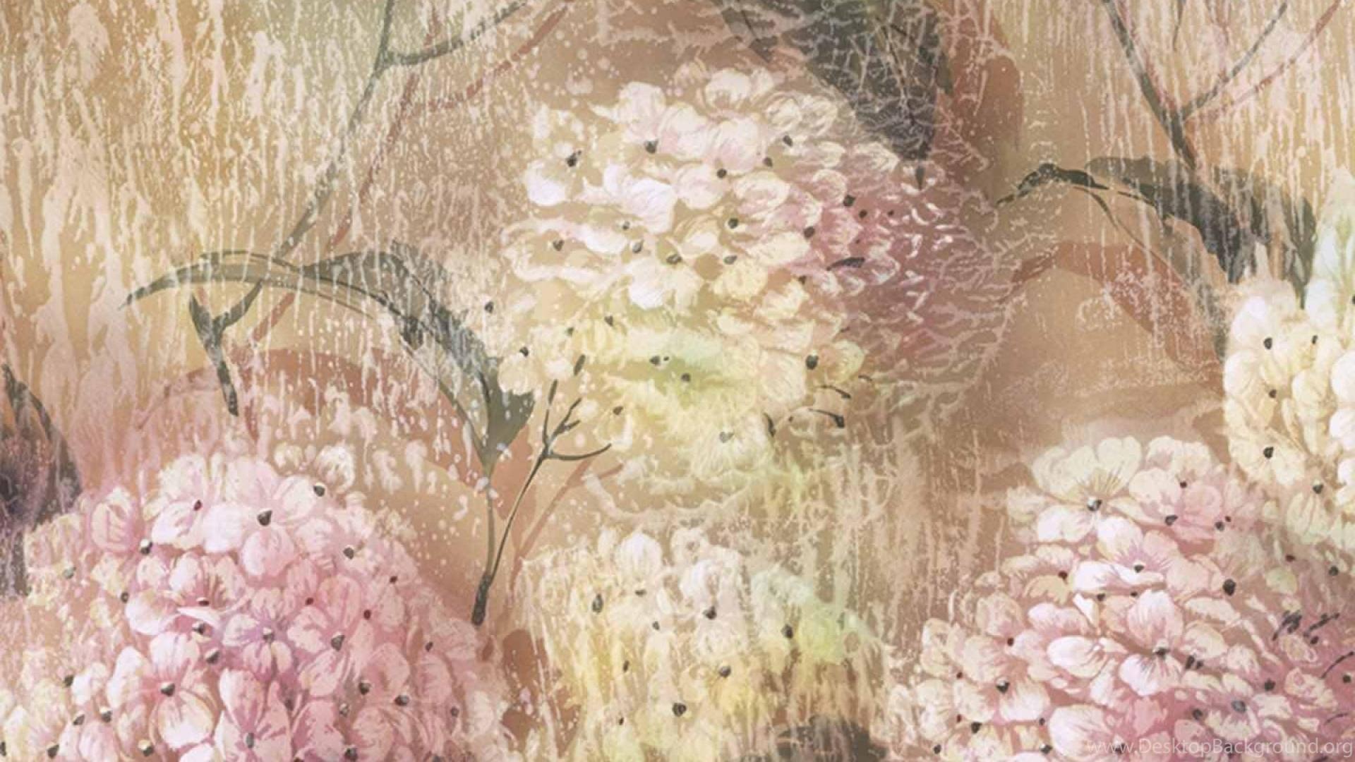Pastel Floral Painting Wallpaper Desktop Background