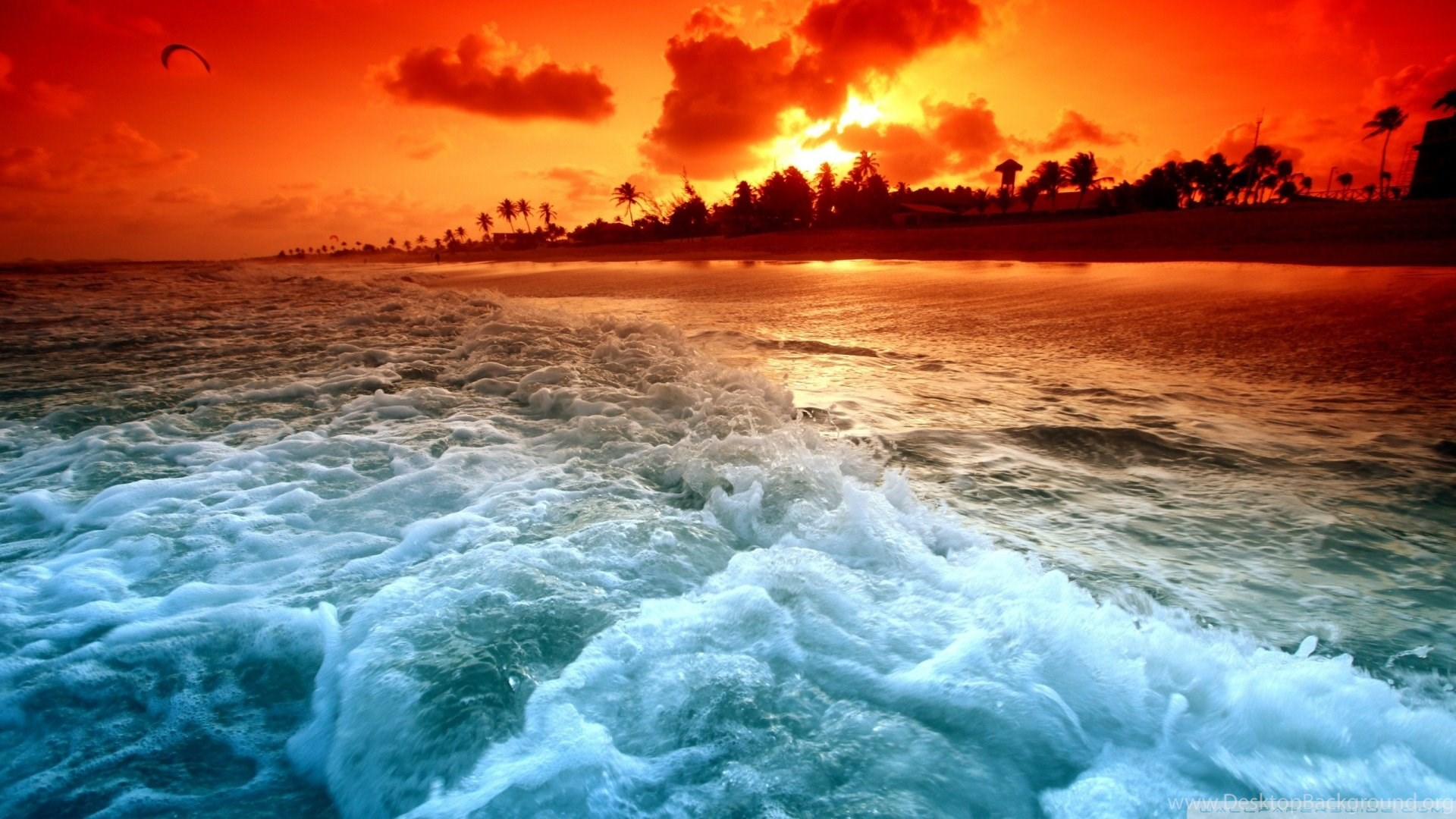 Tropical Beach Sunset Hd Desktop Wallpapers High Definition Desktop Background