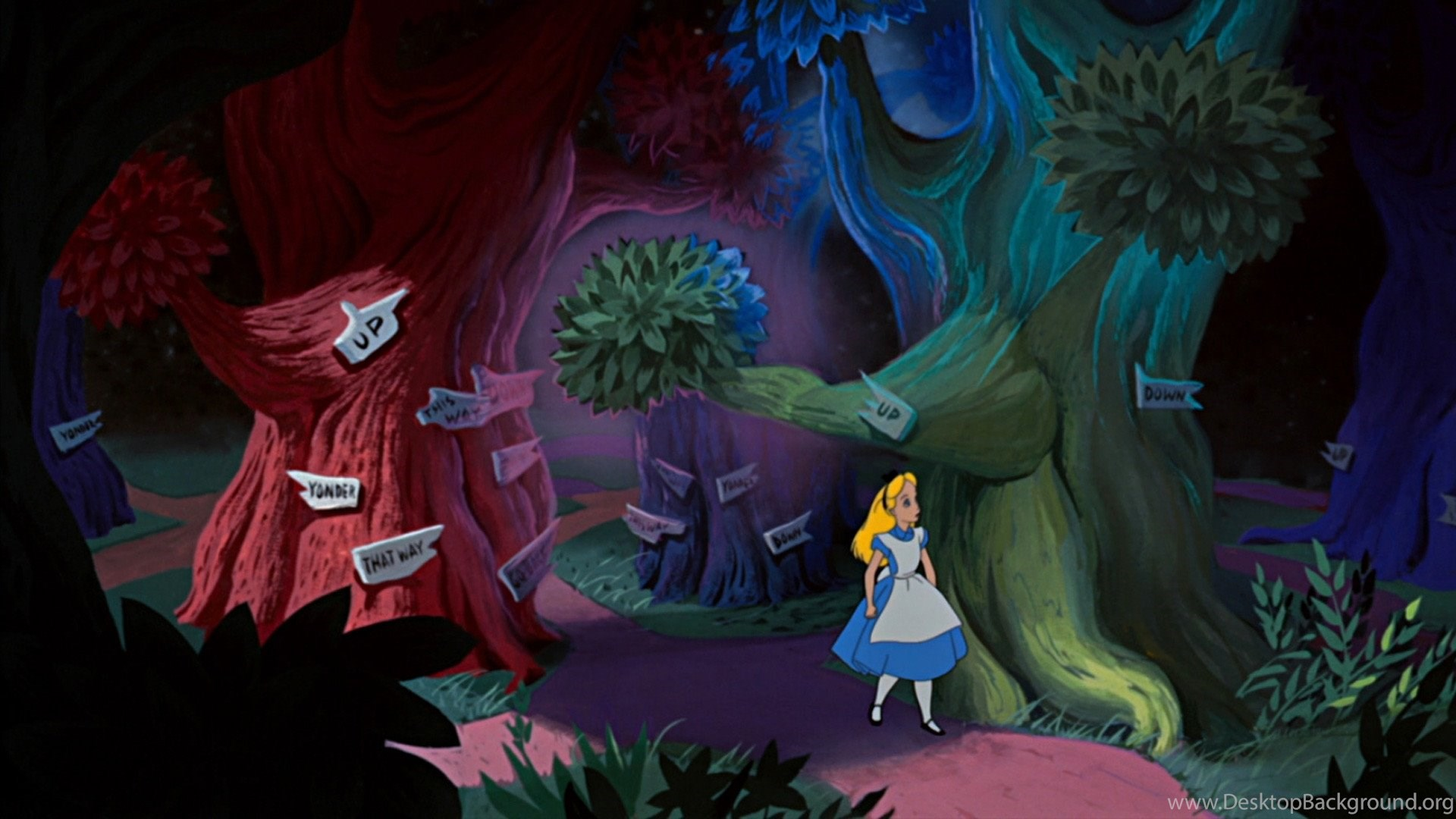 Alice In Wonderland Cartoon Falling Wallpapers Free Desktop Background