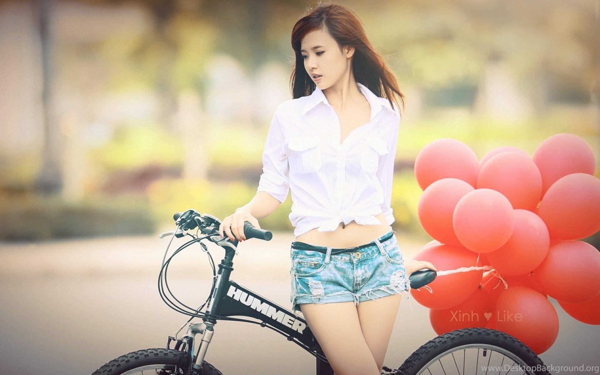 Hd korean girl wallpapers wallpapers asian girl bike red balloons beauty girl hd desktop wallpapers voltagebd Images