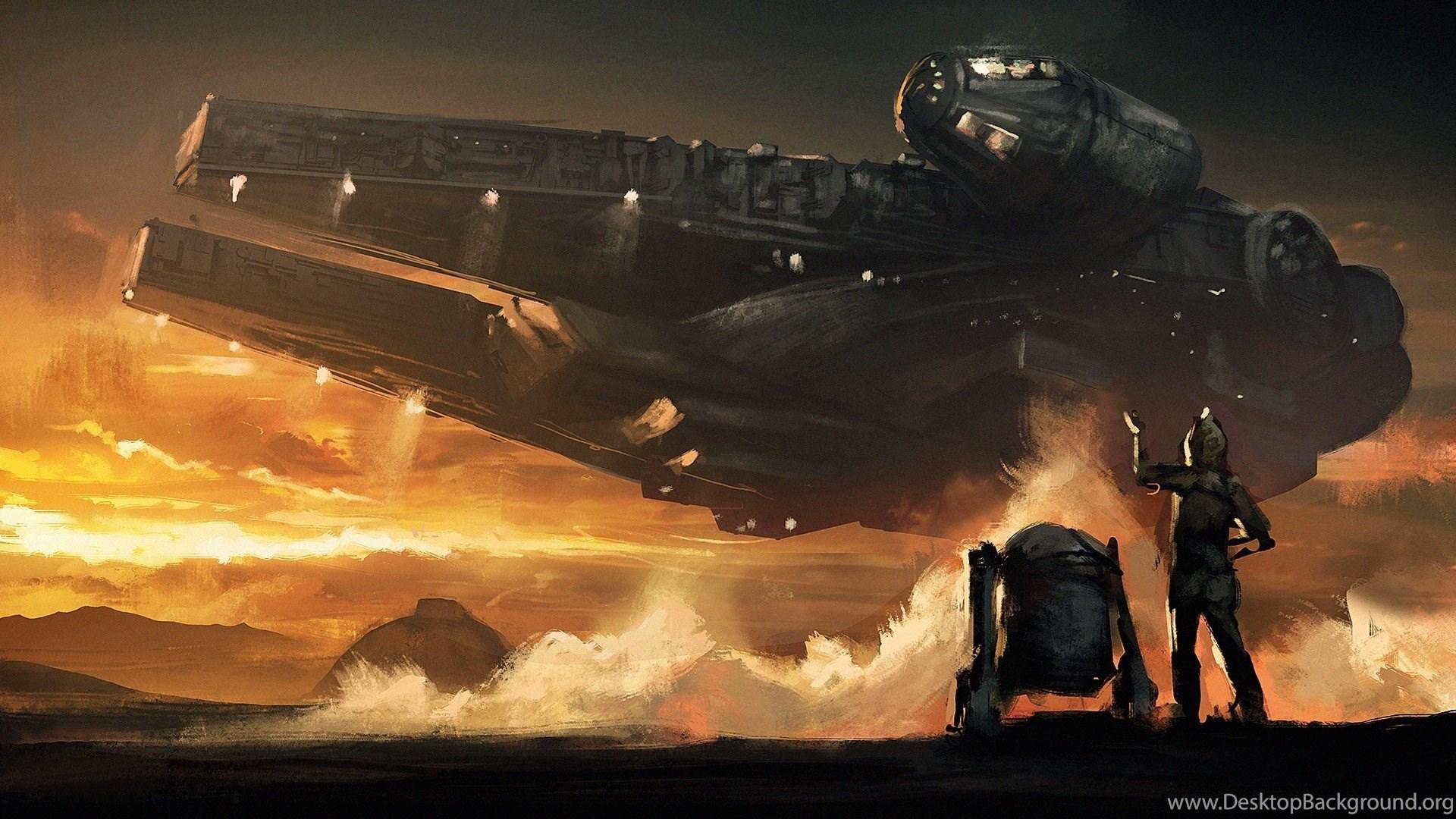 Star Wars Artwork Millennium Falcon Fantasy Art Wallpapers Hd Desktop Background