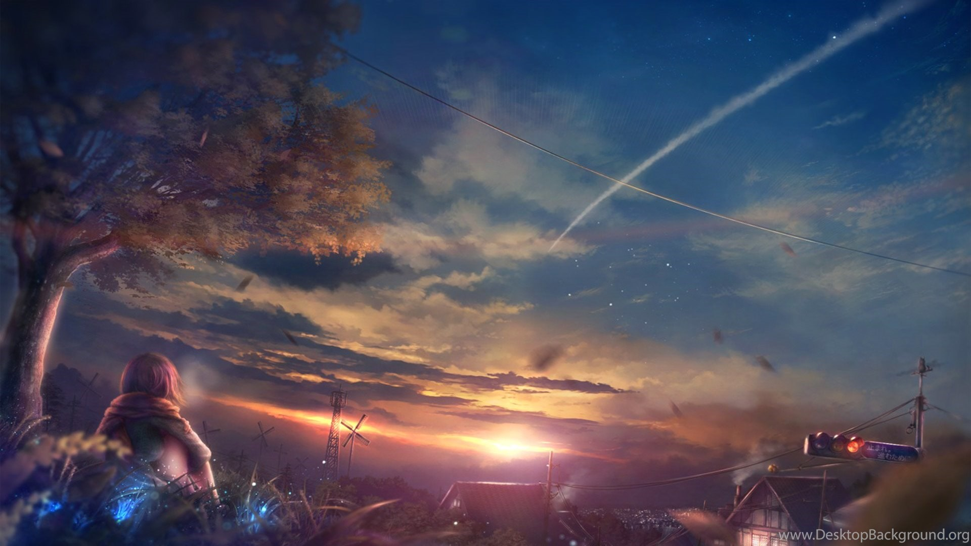beautiful scenery anime girl at sunset wallpapers desktop